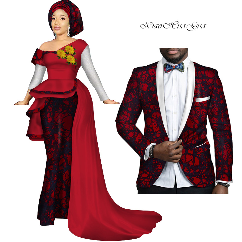 African Couple Clothes Women Dress Men Blazer Bazin Riche African Print Patchwork Evening Party Dresses Blazers Lovers WYQ278