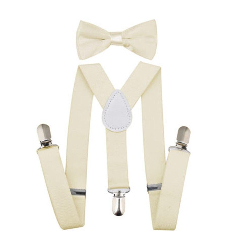 Регулируемая мода мальчиков хлопчатобумажный галстук вечерние галстуки подарок высокое качество для маленьких мальчиков малышей бабочка галстук-бабочка+ на подтяжках комплект одноцветное Цвет - Цвет: Ivory