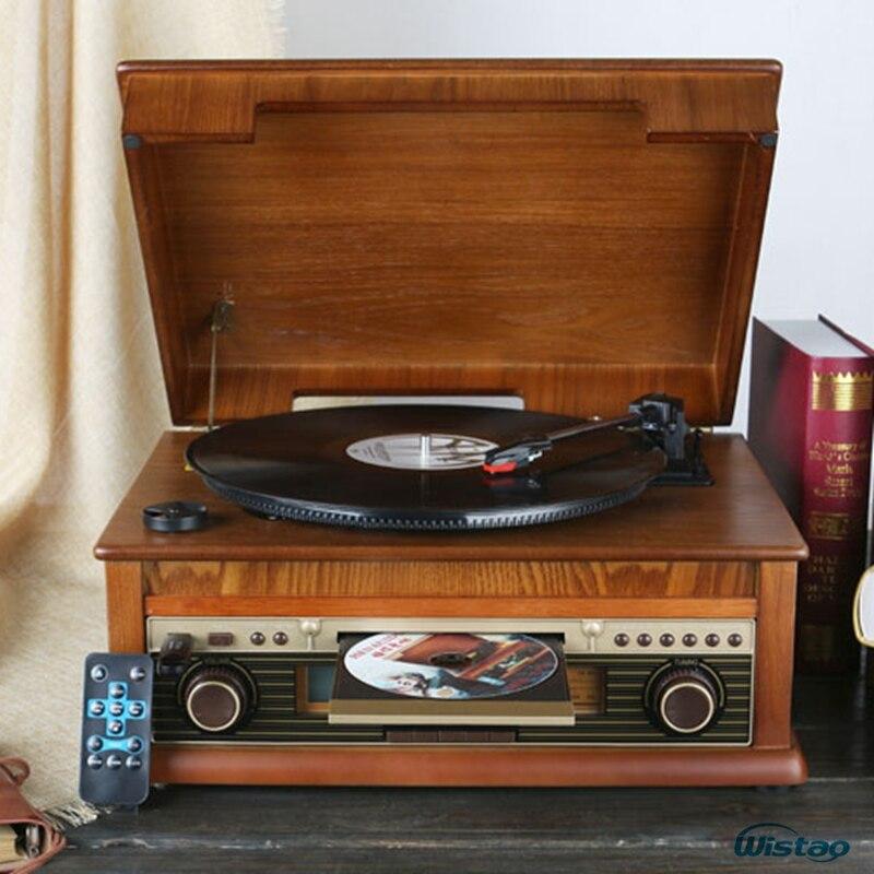 Классический Винтаж граммофон Виниловая пластинка Винтаж CD плеер Ретро FM радио Bluetooth Динамик 7 в 1 Функция 220 В