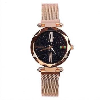 Женские часы Dimini, розовое золото, с корпусом, римские весы, нержавеющая сталь, железные наручные часы с ремешком-сеткой, прочные наручные час...