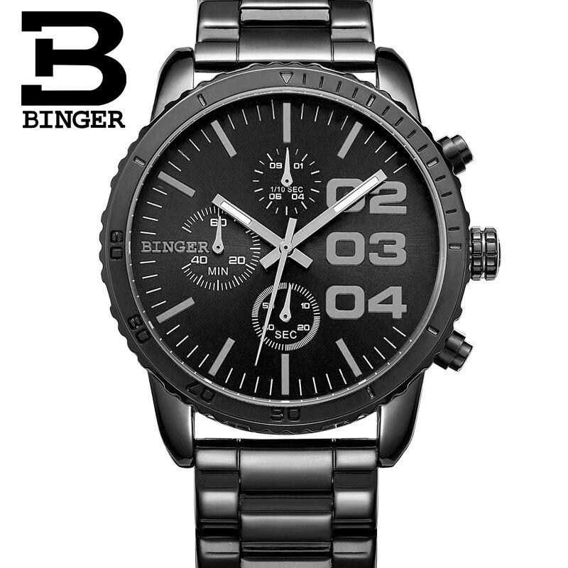 Suisse Binger Hommes de luxe Montre Homme Chronographe Sport Montres  Véritable Acier Mens Quartz Montre-Bracelet relogio masculino 4d0bfac44d85