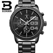Швейцария Binger Мужчины роскошные Часы Человек Хронограф Спортивные Часы Подлинной Стали Мужские Кварцевые Наручные Часы relogio мужской