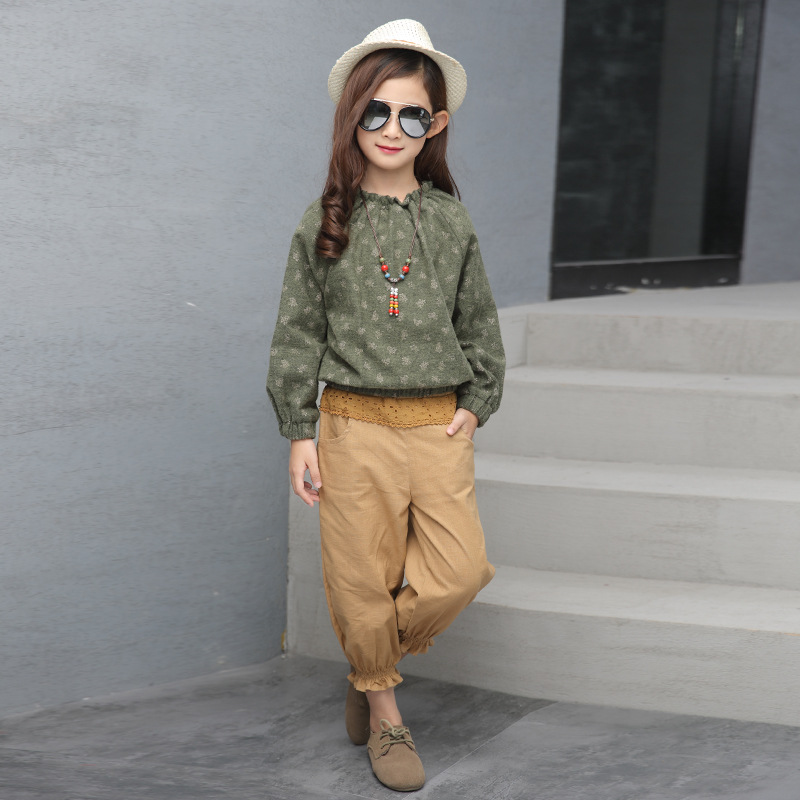 Spring embroidery clothing set linen material breathable comfortable suits long sleeve T-shirt + pant  children girl 110-160cm theory women s alrigo crunch linen pant