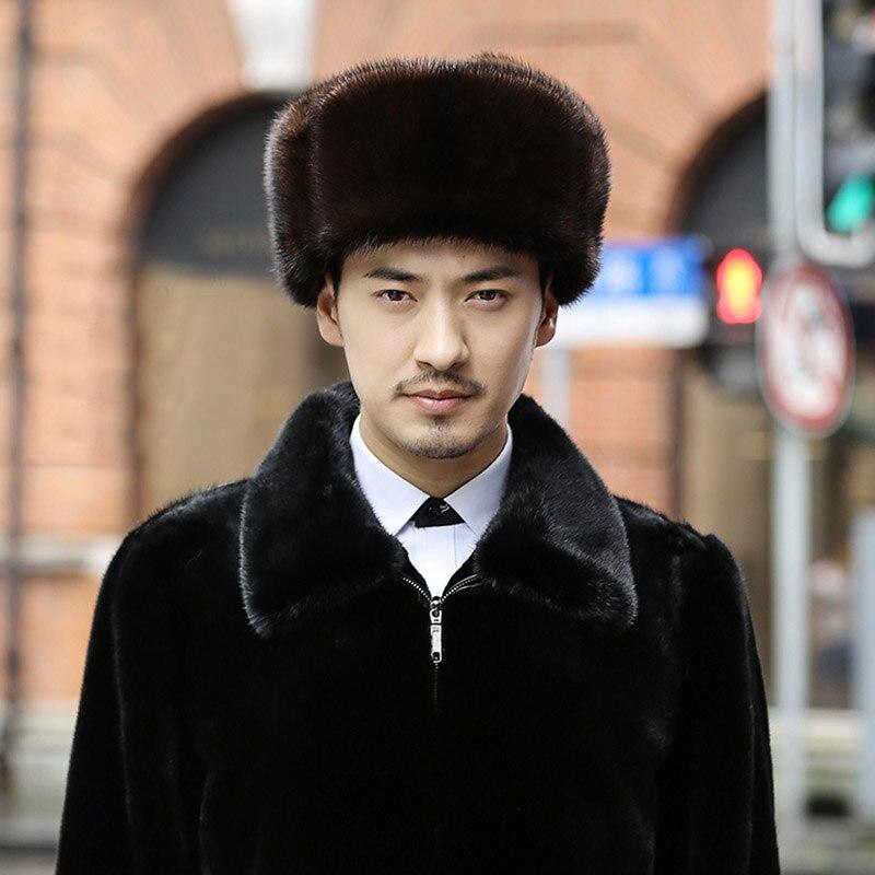 2017 hombres rusos sombreros de piel de visón Real invierno cálido oído  lujo al aire libre casquillos ocasionales Fur bombardero orejeras tapa  Leifeng ... fa8101318d6