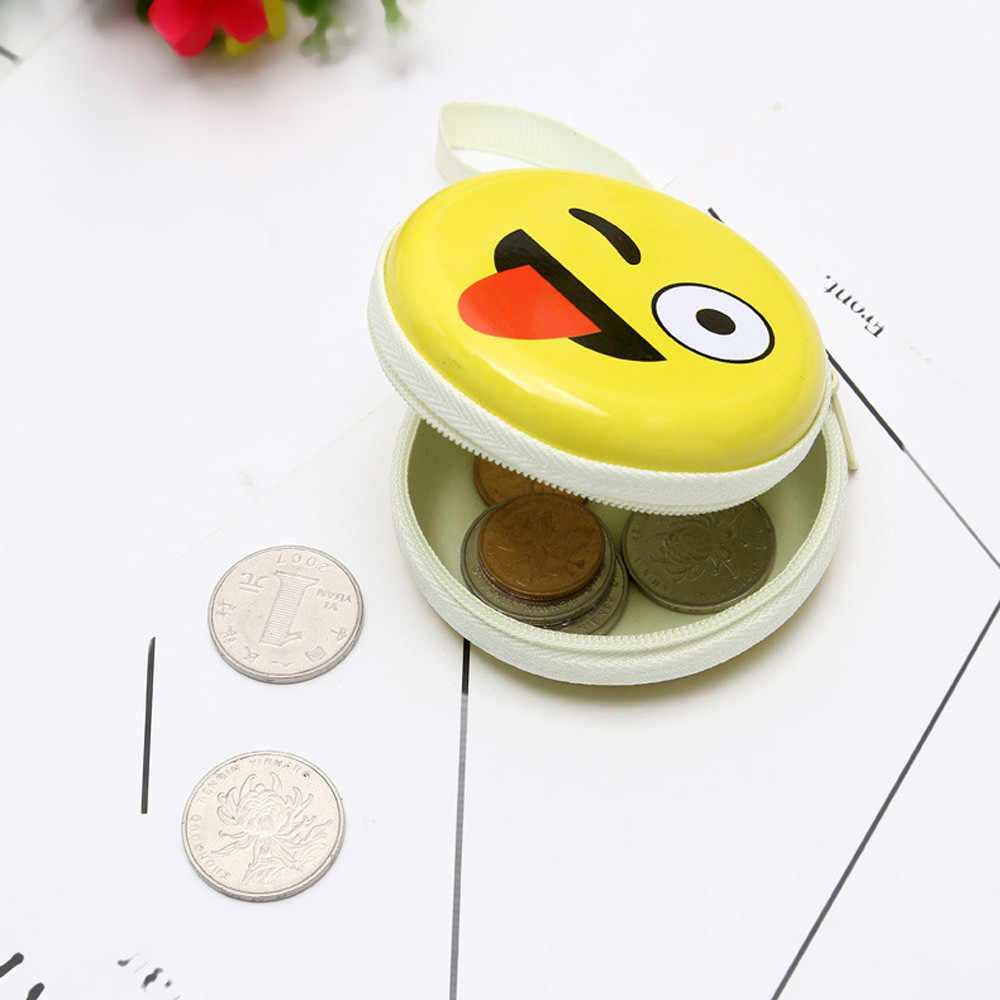 2018 Fashion girls women's purse wallet Mini Coin Cute Expression Elements  Round Headset Purse  Wallet Pouch Bag card holder