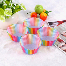 Kitchen Baking 100 Pcs Rainbow Paper Cake Cup Cupcake Muffin Party Tray Bakeware Stands Cases Liners Wedding