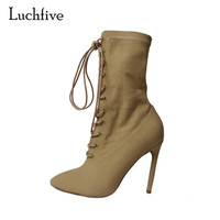 Fashion Runway Bandage Sock Booties For Women Sexy Pointed Toe Stiletto Heel Ankle Boots New Arrival