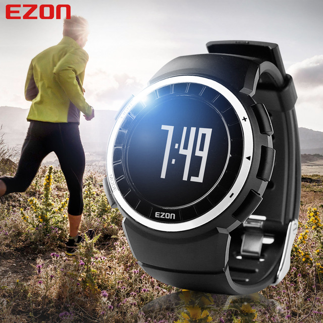Hot!! EZON Pedometer Calories Monitor Men BMI Sports Watches Waterproof 50m Digital Watch Running Hiking Wristwatch Montre Homme ezon 2016 lovers sports outdoor waterproof gym running jogging fitness pedometer calories counter digital watch ezon t029