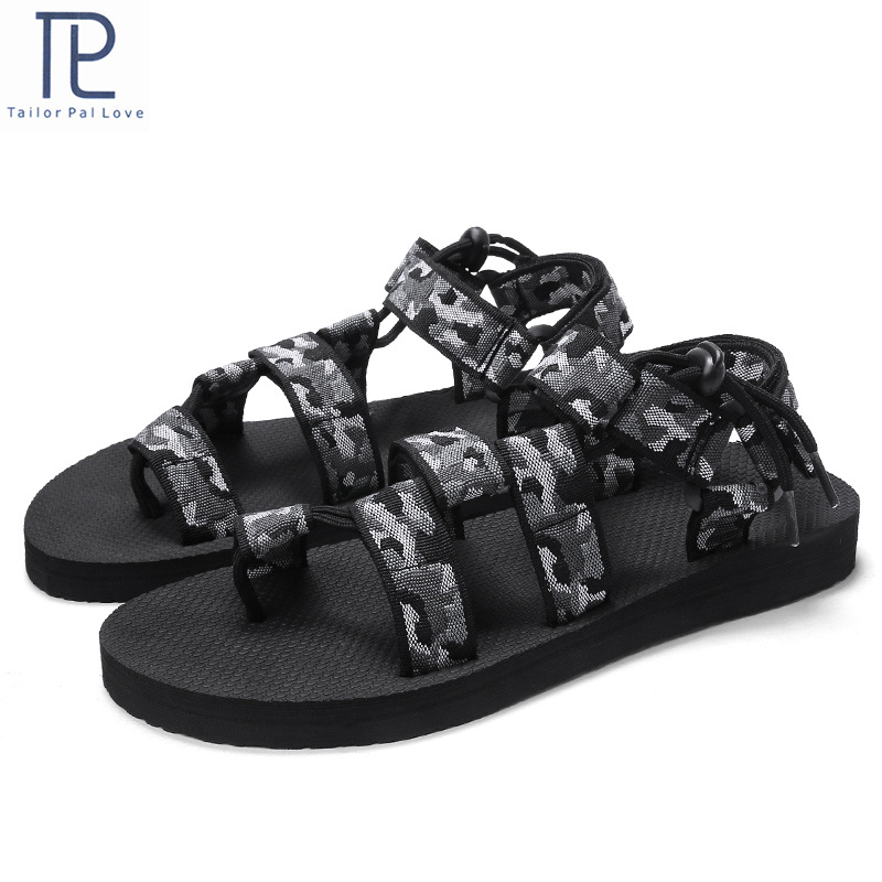 Summer Men Sandals Gladiator Sandals for Male Roman Beach Shoes Flip Flops Slip on Flats Slippers(China)