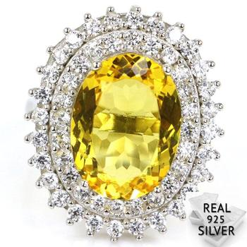 26x22mm 6.9g Real 925 Solid Sterling Silver Fancy Golden Citrine Mothers Gift Rings