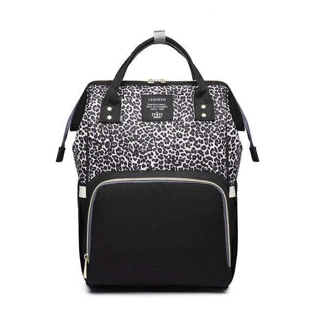 Lequeen Leopard Diaper Bag Nursing Nappy Bag Travel Maternity Patchwork Bag Baby Care Outdoor Stroller Organizer Bag Backpack