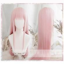 Anime darling no franxx 02 perucas cosplay zero duas perucas 100cm de comprimento rosa cabelo sintético perucas cosplay peruca + peruca boné + grampo de cabelo