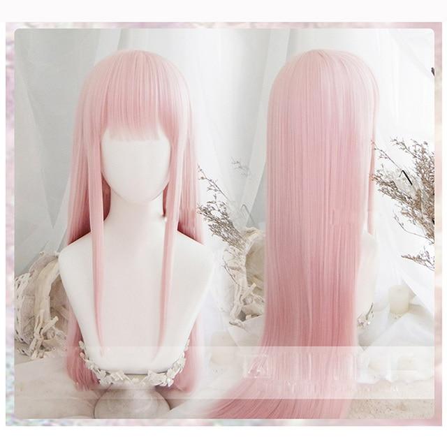 Anime sevgilim FRANXX içinde 02 Cosplay peruk sıfır iki peruk 100cm uzun pembe sentetik saç peruk Cosplay peruk + peruk kap + saç tokası