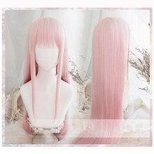 애니메이션 darling에서 FRANXX 02 코스프레 가발 제로 두 가발 100cm 긴 핑크 합성 머리 페루 코스 프레 가발 + 가발 모자 + 헤어 클립