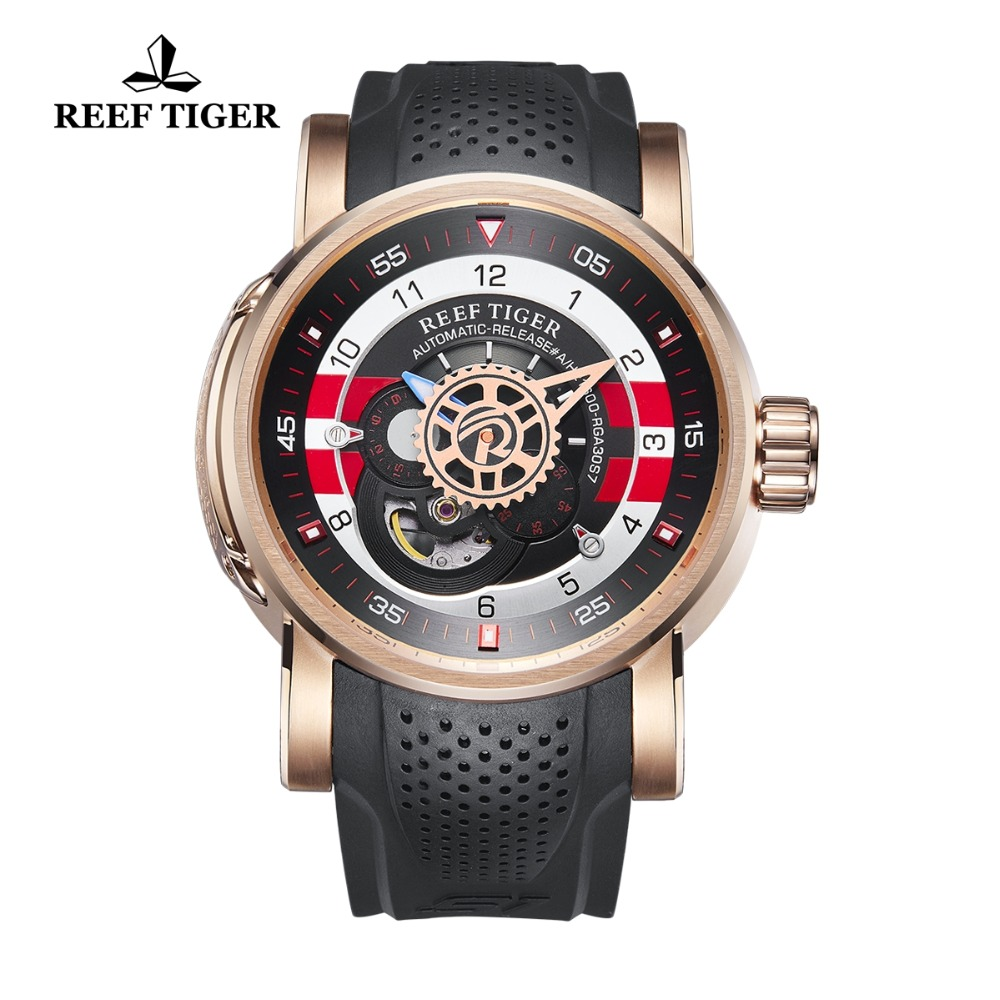 2018 Reef Tiger/RT Designer Sport Watch for Men Reloj Hombre Waterproof Automatic Watches Luxury Brand Rose Gold Watches RGA30S7 reef tiger rt designer sport watches for men rose gold quartz watch with chronograph and date reloj hombre 2018 rga3063