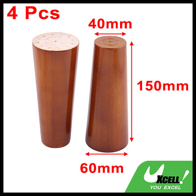 6/15cm Round Tapered wooden Sofa Couch Chair Leg, Cabinet Closet Legs Replacement with Mounting Plates, Brass Color Set of 4