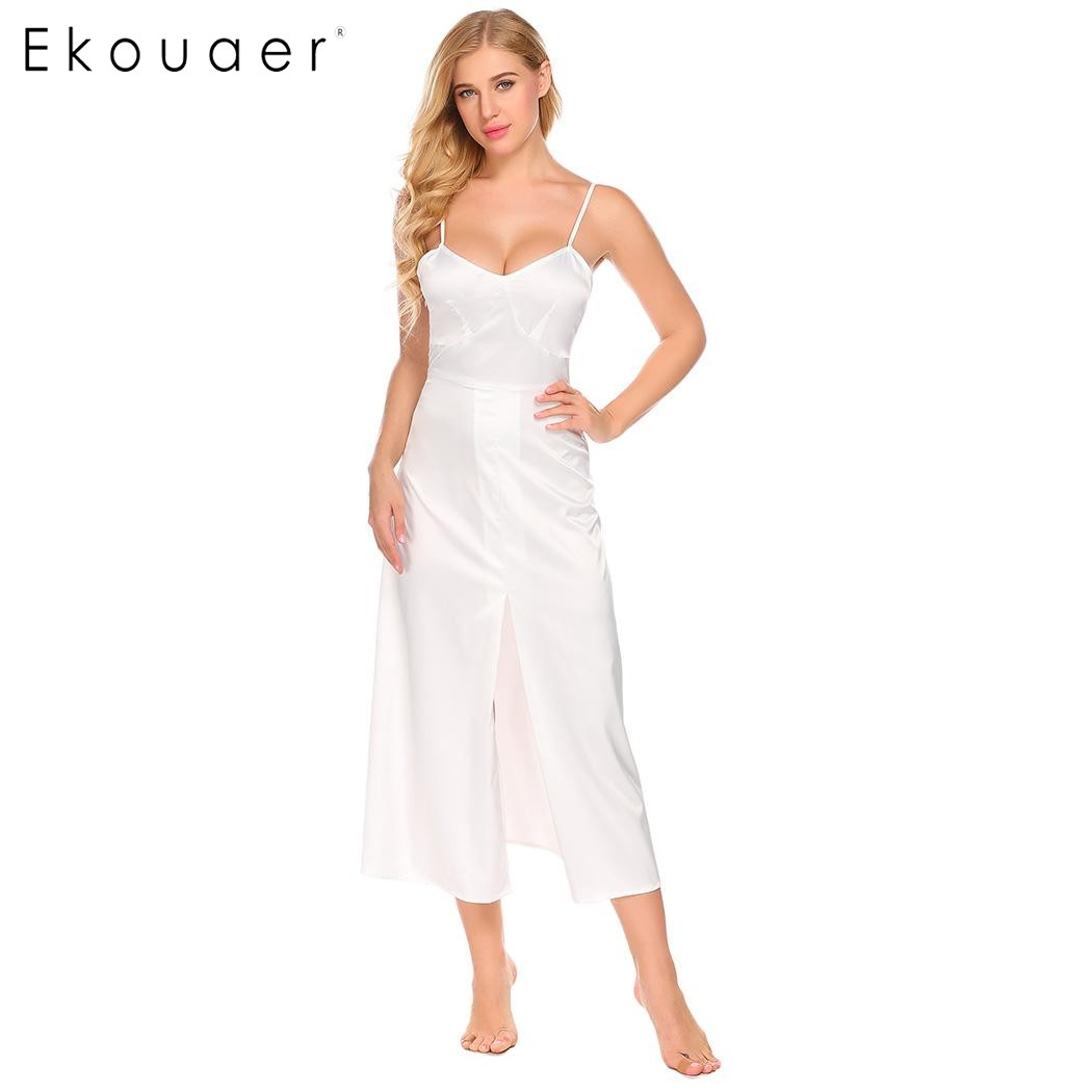Ekouaer 2017 Summer Women Casual Nightgowns Spaghetti Strap V Neck Sleeveless Front High Split Long Sleep Dress Female Sleepwear