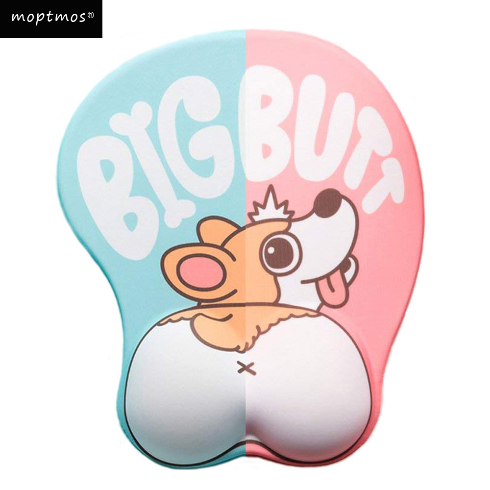 Cute Corgi Dog 3D Mouse Pad Ergonomic Soft Silicon Gel Anime Mousepad With Wrist Support Mouse