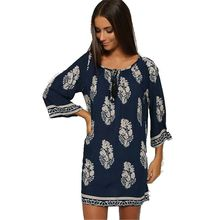 2016 Spring Summer New Fashion Women Big Yards Dress Sexy Loose Printing Leisure Round Collar 7 Minutes Sleeve Short Dress G0451