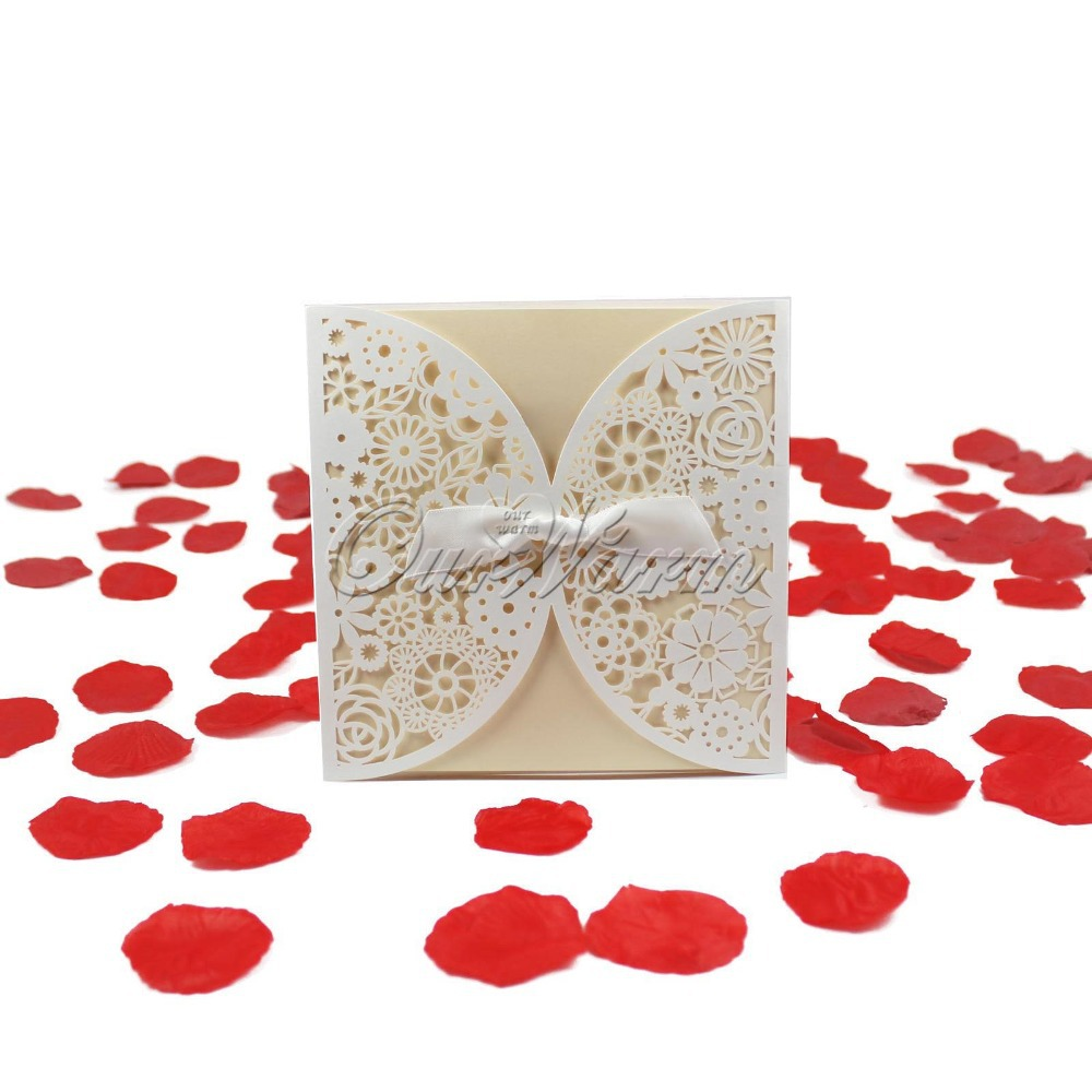 online buy whole holiday invitations from holiday 20pieces bowknot wedding invitation card laser cut white hollow flowers blank inside envelope