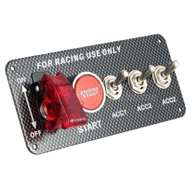 12V araba kontak anahtarı için Push Button Start basma düğmesi motor çalıştırma basma düğmesi 3 geçiş yarış paneli Dropshipping