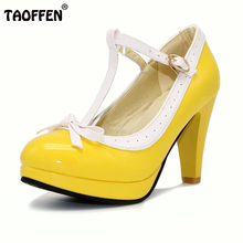 TAOFFEN Plus Size 32-48 Women Summer high heels shoes Woman t-strap bowknot pumps lady platform daily work dress Footwear