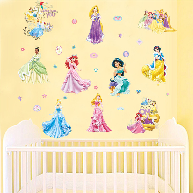 Princess Wall Stickers Girl children kids bedroom home decor wall ...
