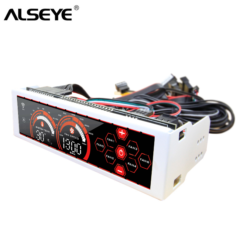 ALSEYE a-100H(WR) Fan speed controller touch screen WIFI function 6 channels for CPU cooler / radiator / water cooling control alseye x 200 fan controller computer fan speed and rgb controller 5 channels wifi function 2 rgb led strips sd tf card reader