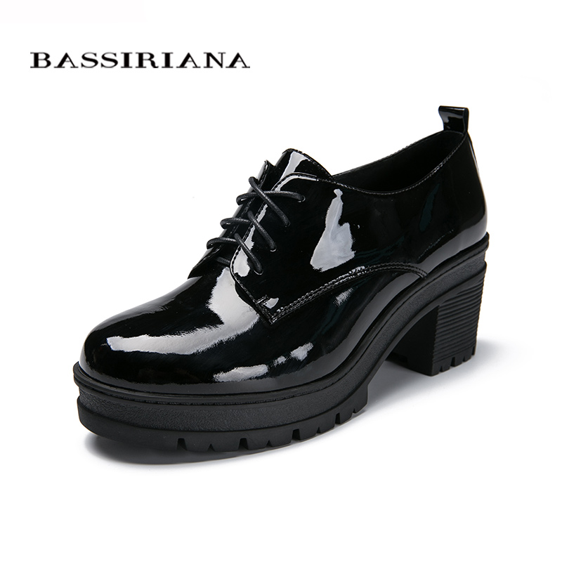 Woman pumps Genuine patent leather Fashion Lace Up Hig heels shoes woman Black Bordo Blue Free