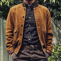 Male spring A1 style warm leather jacket Cow suede Pilot Brand new classic man genuine leather Jacket,casual male flight coat