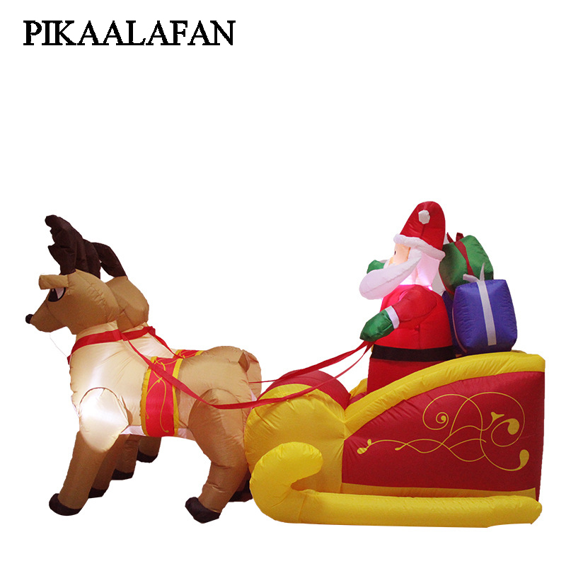 PIKAALAFAN Large 2.1m Inflatable Model Of Milu Deer Santa Claus Pulled Sleigh On Christmas Decorations Glowing Inflatable Toy 2018 new 5m lighted climbing santa inflatable outdoor christmas 16 4ft christmas large santa decorations inflatable toy