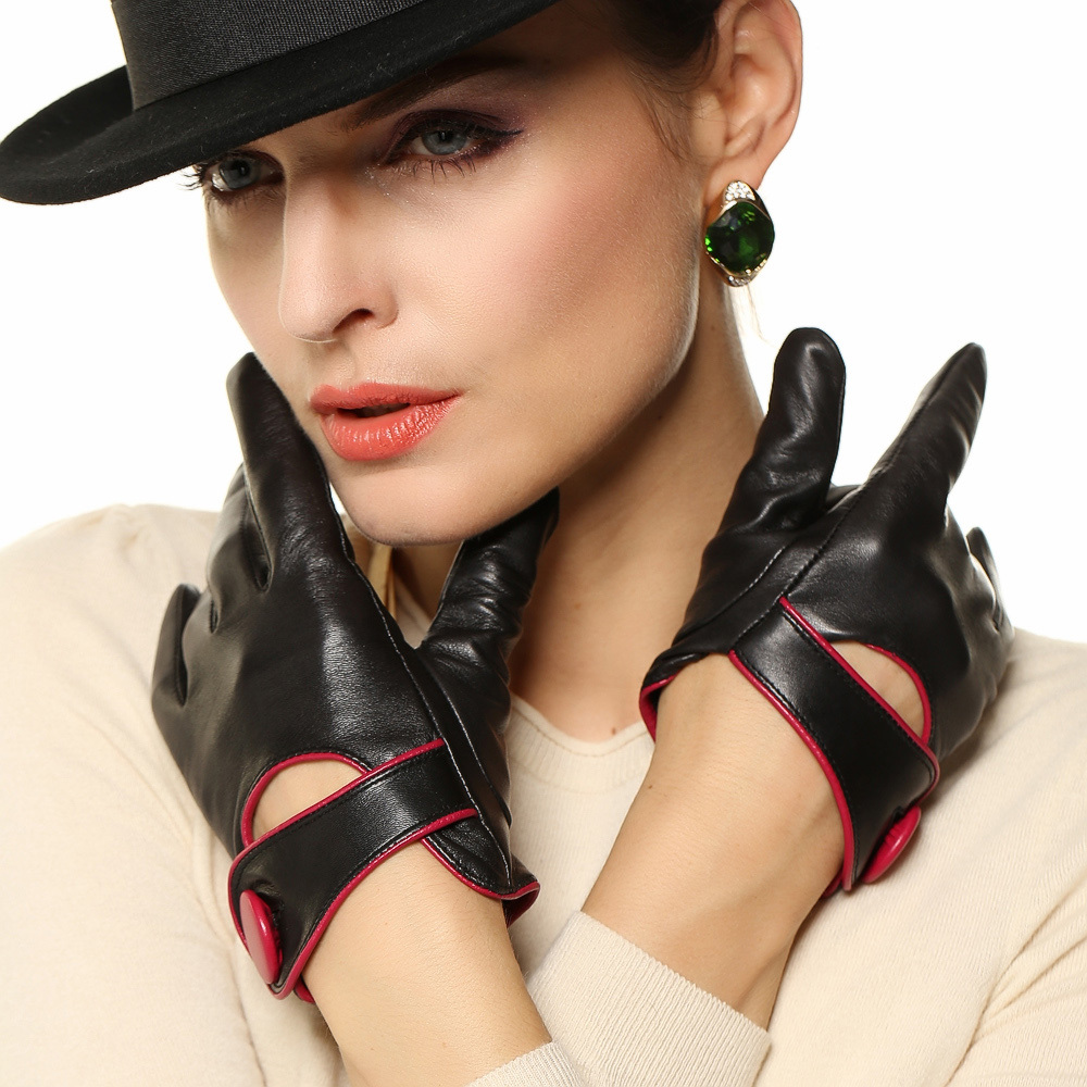 Womens colored leather gloves - 2017 High End Women Genuine Leather Gloves Contrast Color Fashion Slim Sheepskin Glove Wrist Button Solid Free Shipping El028nn