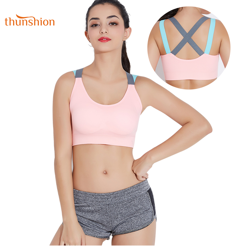 THUNSHION Sports Bra Breathable Female Top Sexy Cross Strap Push Up High Impact Running Bra for Fitness Yoga Gym Top SportsTHUNSHION Sports Bra Breathable Female Top Sexy Cross Strap Push Up High Impact Running Bra for Fitness Yoga Gym Top Sports