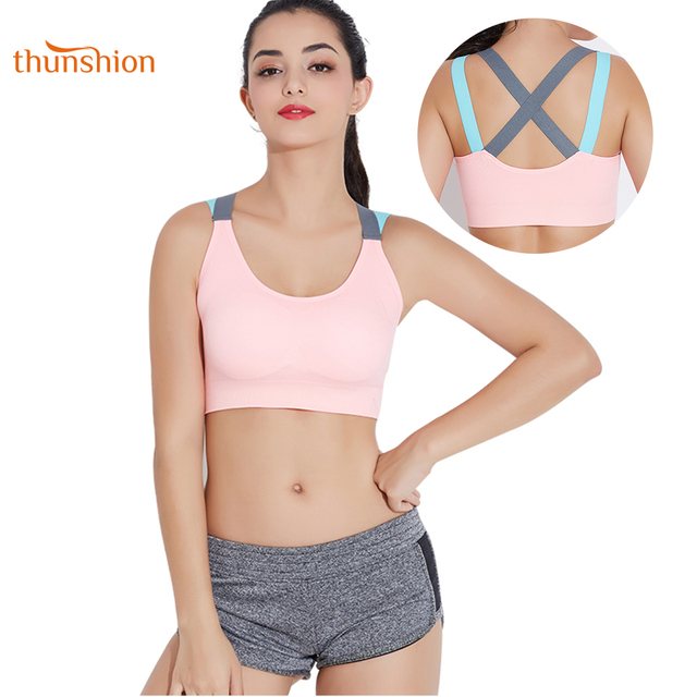 4cedce052 THUNSHION Sports Bra Breathable Female Top Sexy Cross Strap Push Up High  Impact Running Bra for Fitness Yoga Gym Top Sports