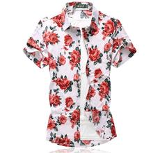 Hawaiian Shirt Mens Summer Floral Dress Shirts Flower Clothing Slim fit Short-sleeved