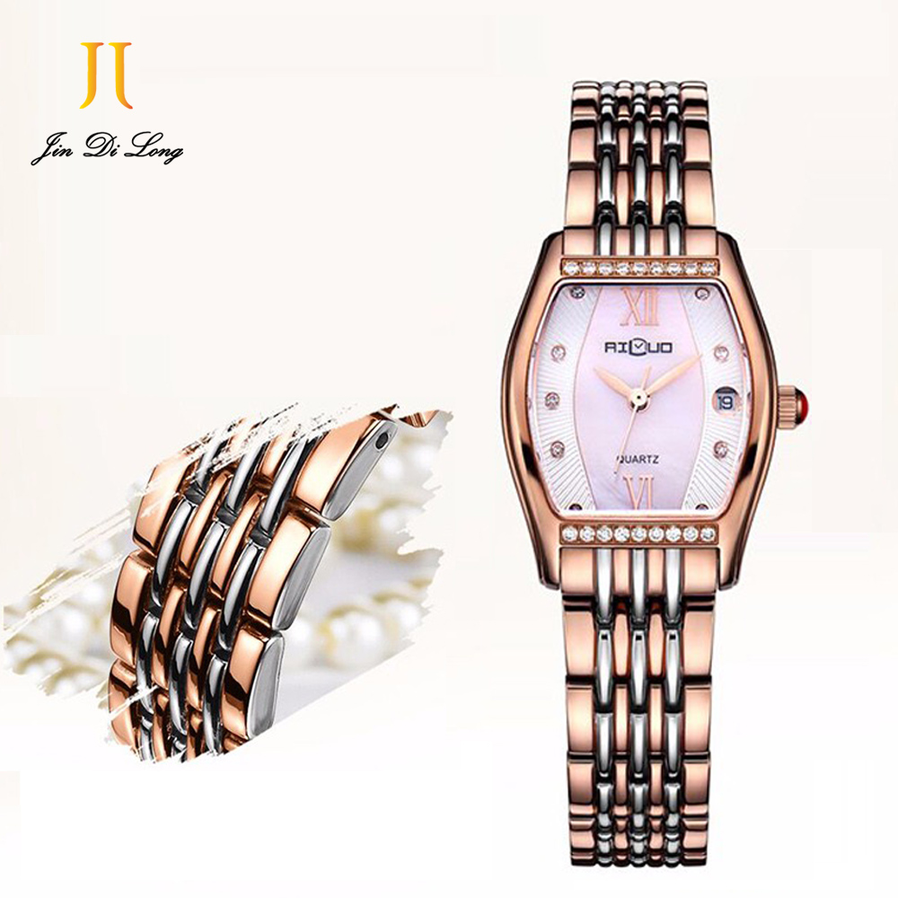 Ailuo Luxury Fashion Ladies Casual Business Watch Women Elegant Diamond Quartz Watches Retro Slim Wristwatch Waterproof 50M 60