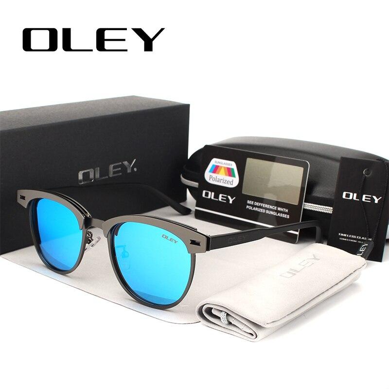 OLEY Retro apaļās saulesbrilles vīriešiem Zīmols dizaineres sievietes Polarizētās saules brilles 2017 Acis Aizsargājiet braukšanas brilles gafas de sol Y9800