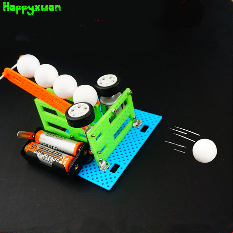 Happyxuan Mini Automatic Pitching Machine Student Creative Material Kit Kids Scientific Experiments Toys Set Cool Gift for boy