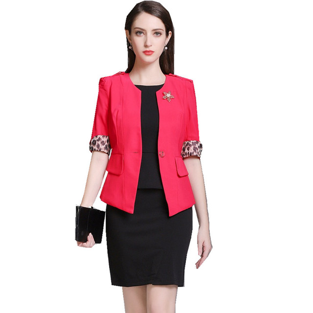 Fmasuth Summer Women Office Suit Red Blazer With Bowknot Short