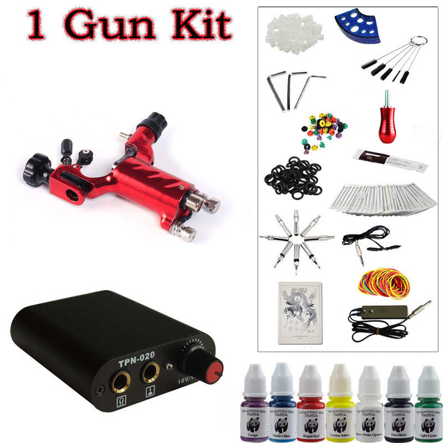 Solong Tattoo Beginner 1 Red Dragonfly  Rotary Tattoo Machine Gun Kit Power Supply Foot Pedal Needles Grip Tip Ink free shipping