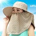 De Calidad superior Sombreros de Sun para Las Mujeres Protección UV Verano Tapas Rápidamente seco Gran Sombrero de Ala Playa con Punto Impreso Casquillo Al Aire Libre para femenino