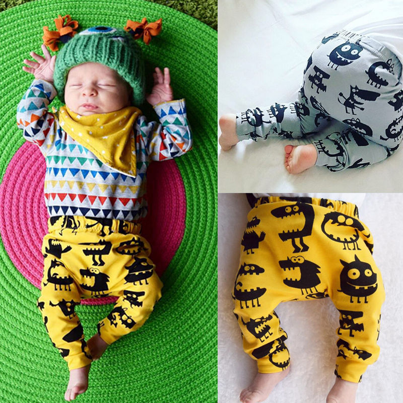 Toddler Infant Kids Baby Boy Girl Harem Long Pants Cartoon Animals Trousers Pant Bottom 0-3Y