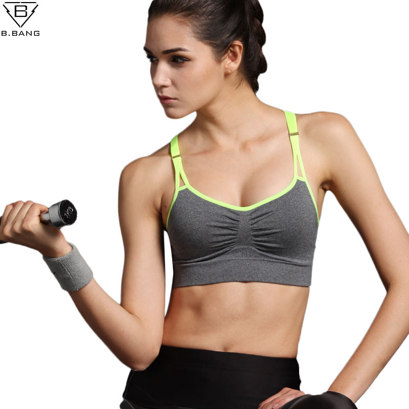 B.BANG New Women Sports Bra Push Up Breathable Bra for Running Fitness Workout Gym Underwear Crop Tops for Women 6 Colors alluring spaghetti strap push up lace spliced bra for women