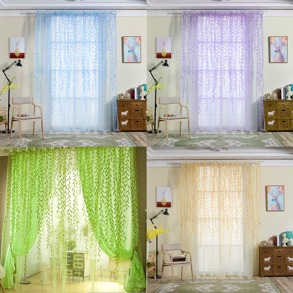 Window Curtain Pastoral Style <font><b>Willow</b></font> Floral Window Curtain Bedroom Living Room Decor Summer Style Pure and Fresh Curtain