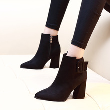 Plus Size Ankle Boots Women Pointed Toe High Heels Female Black Zip Shoes Buckle Short Boot Casual Ladies Footwear CH-A0047 2019 autumn new ankle boots for women platform high heels female lace up shoes woman buckle short boot casual ladies footwear