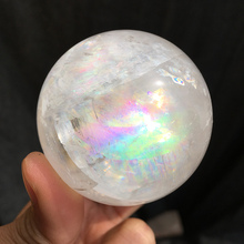 55mm Natural crystal rainbow calcite sphere Iceland spar ball energy mineral specimen as for gift