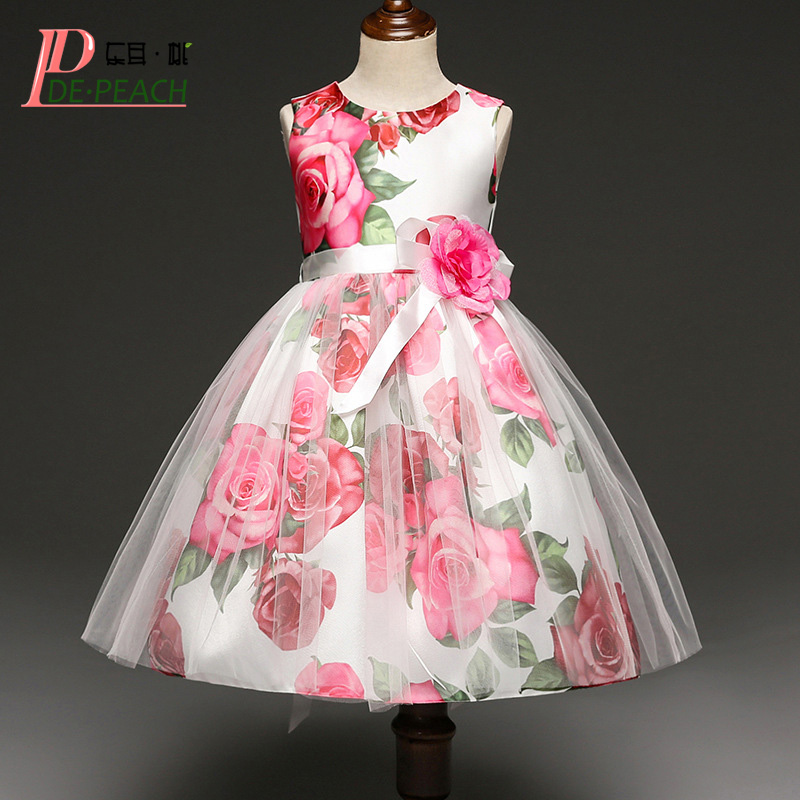 DE PEACH Elegant Girls Party Dress Floral Printed Kids Christmas Dress Lace Flower Princess Wedding Dresses Baby Girls Clothes