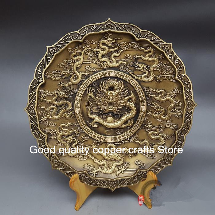 Chinese collection high quality pure brass Nine dragon plate-in Statues & Sculptures from Home & Garden    1