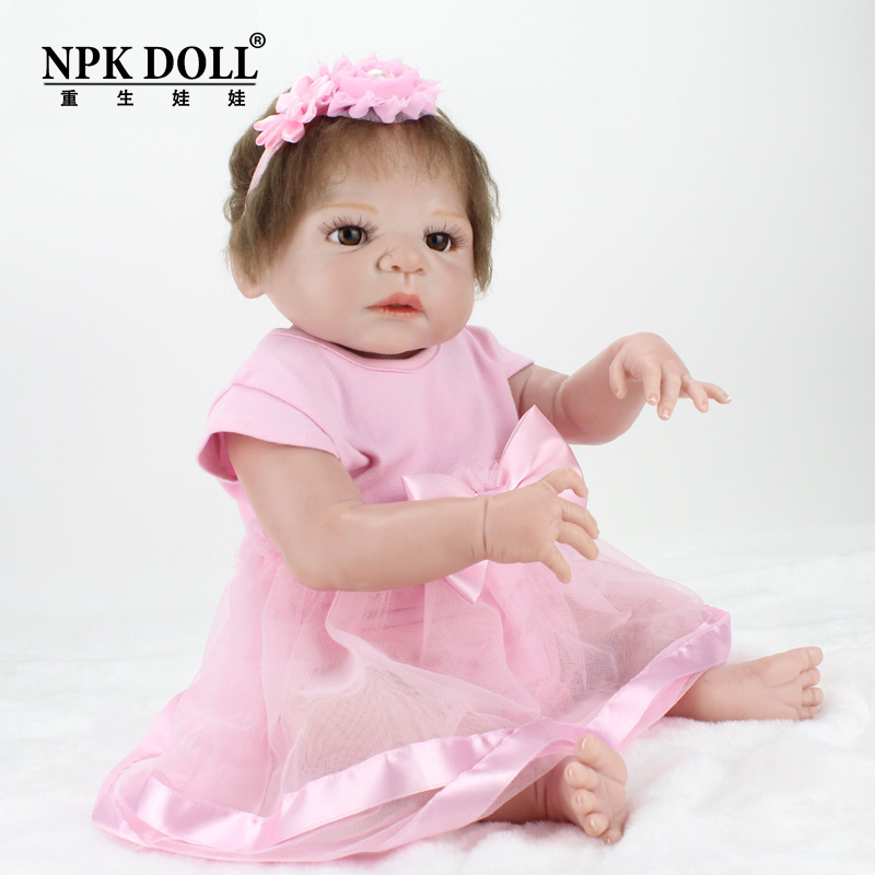 22 Inches Full Body Vinyl Silicone Dolls Reborn Babe Baby Toys Doll Kids Playmate Gift for Girls Soft Toys Bouquets Bebe Reborn pursue 22 55 cm bebe reborn silicone baby dolls toys for children girls house playmate baby alive soft toys best gift for girls