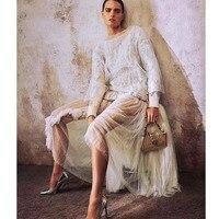 Cosmicchic White Lace Mesh Skirt High Waist Asymmetrical Tulle Maxi Silk Skirt Elegant Women Runway Fashion Skirt 2019